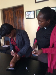 Rev Elizabeth and a USHAPE colleague learn about different modern Family Planning M