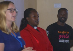 The Team from Bwindi Hospital: Dr Claire Marie Thomas, Rev Elizabeth Kagabe and Haevan Nahabwe